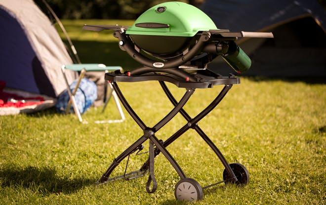 Weber Q 1200 Green Gas Grill, camping